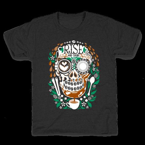 Rise and Shine Coffee Skull Kids T-Shirt