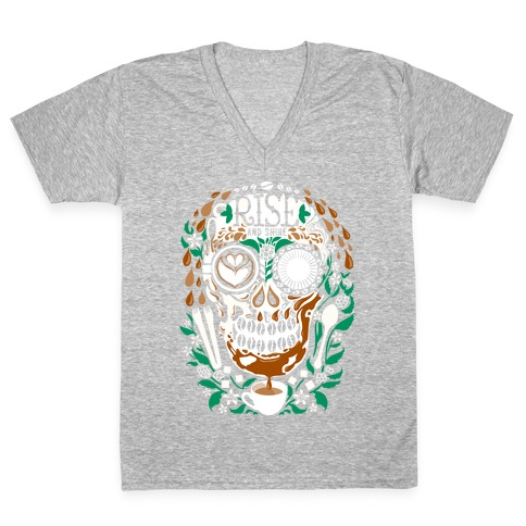 Rise and Shine Coffee Skull V-Neck Tee Shirt
