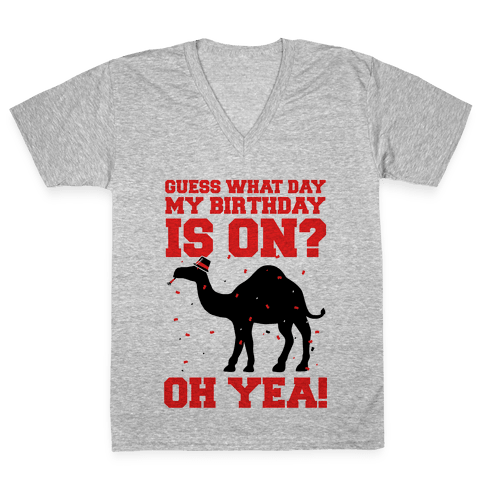 Guess What Day My Birthday is On? V-Neck Tee Shirt