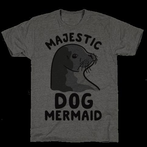 Majestic Dog Mermaid Mens T-Shirt