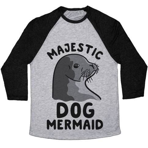 Majestic Dog Mermaid Baseball Tee