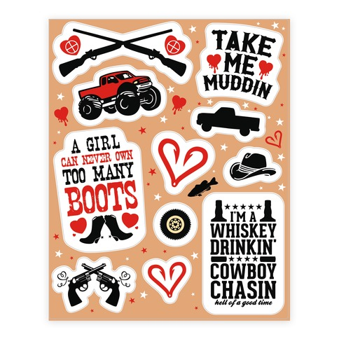 Country Love Themed Sticker/Decal Sheet