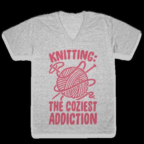 Knitting The Coziest Addiction V-Neck Tee Shirt