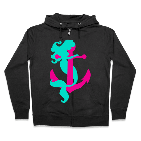 Mermaid Anchor Zip Hoodie