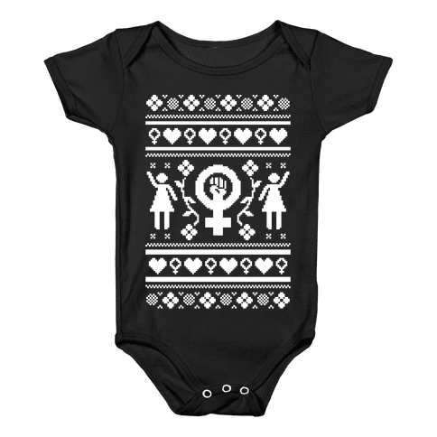 Girl Power Ugly Sweater  Baby Onesy