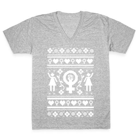 Girl Power Ugly Sweater V-Neck Tee Shirt