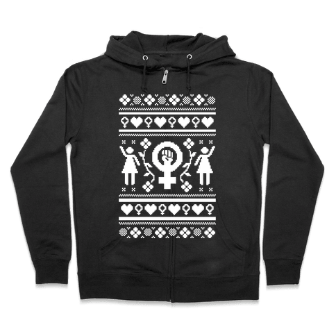 Girl Power Ugly Sweater  Zip Hoodie