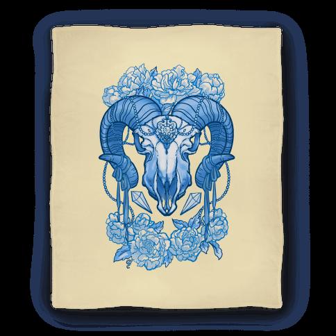 Flowery Ram Skull Blanket