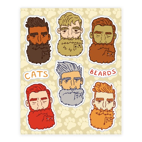 Cat Beards  Sticker/Decal Sheet