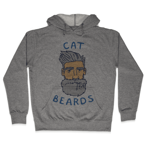 Grey Cat Beards Hooded Sweatshirt