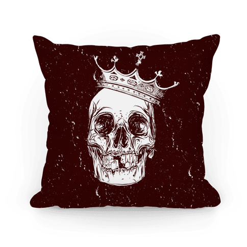 Skull and Crown (Maroon) Pillow