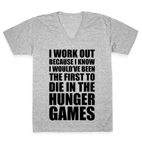 Hunger Games Workout V-Neck Tee Shirt