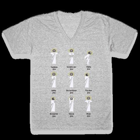 Touchdown Jesus V-Neck Tee Shirt