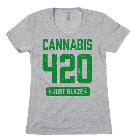 Cannabis 420 Varsity Womens T-Shirt