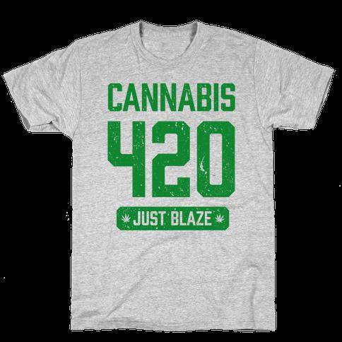 Cannabis 420 Varsity Mens T-Shirt