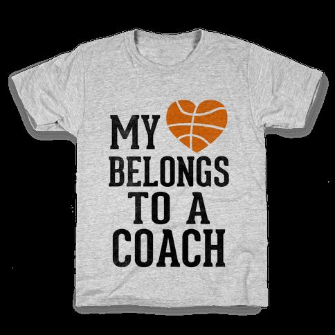My Heart Belongs to a Basketball Coach (Baseball Tee) Kids T-Shirt