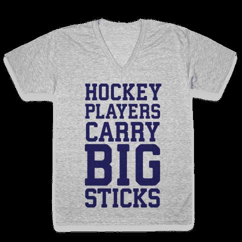 Hockey Players Carry Big Sticks V-Neck Tee Shirt