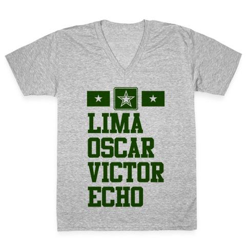 c208a28b Lima Oscar Victor Echo (Army) V-Neck Tee | LookHUMAN