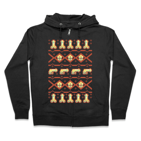 Dicks and Butts Ugly Sweater Pattern Zip Hoodie