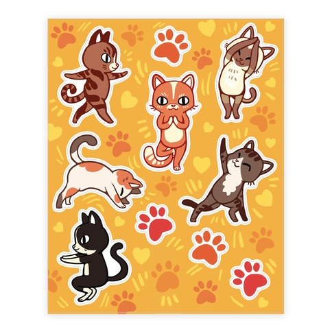 Yoga Cat Sticker and Decal Sheet