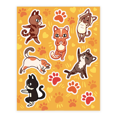 Yoga Cat  Sticker/Decal Sheet
