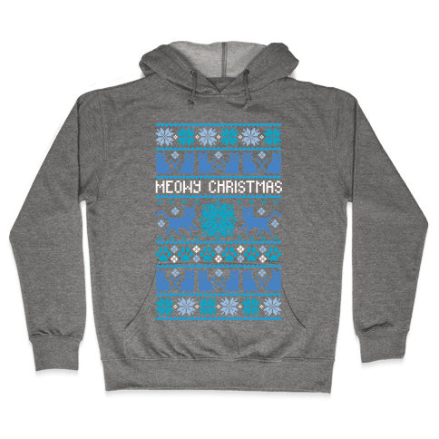 Meowy Christmas Cat Sweater Pattern Hooded Sweatshirt