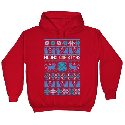 Christmas Cat Sweater.Meowy Christmas Cat Sweater Pattern Hoodie Lookhuman
