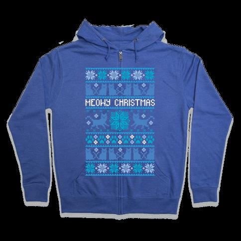 Meowy Christmas Cat Sweater Pattern Zip Hoodie