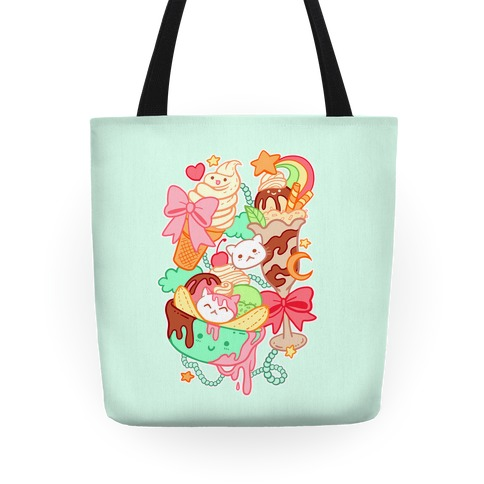 Cute Cat Sundae & Kawaii Ice Cream Tote