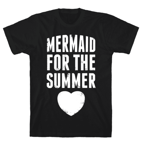 Mermaid for the Summer (White Ink) Mens T-Shirt