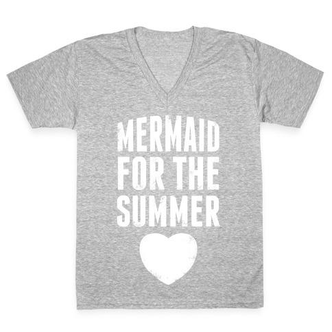 Mermaid for the Summer (White Ink) V-Neck Tee Shirt