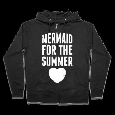 Mermaid for the Summer (White Ink) Zip Hoodie