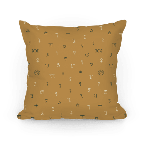 Wiccan Witchcraft Symbols (Yellow) Pillow
