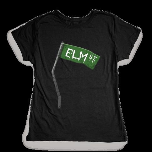Elm Street (Horror Movie Street Sign) Womens T-Shirt