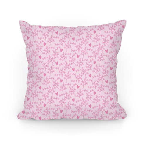 Pink Floral Hearts Pattern Pillow