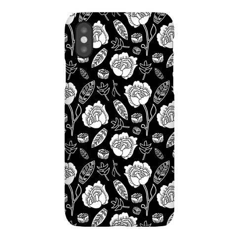Floral and Leaves Pattern (Black) Phone Case