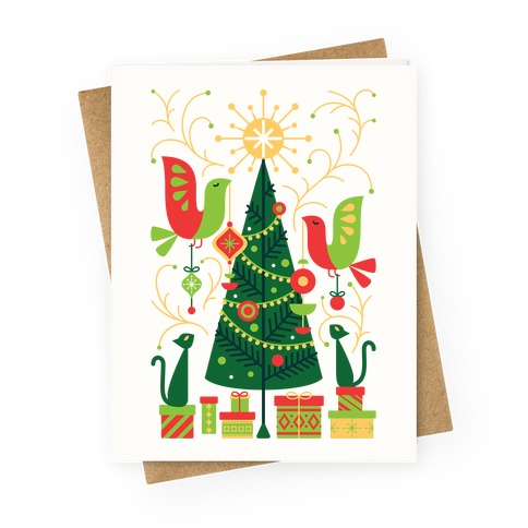Vintage Christmas Tree Decorating Greeting Card