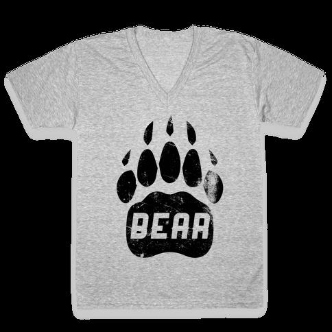 Bears Red Black& White V-Neck Tee Shirt