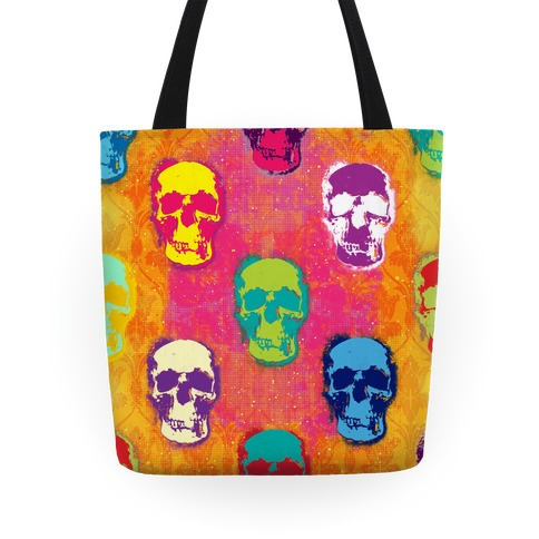 Retro Pop Art Skull Tote