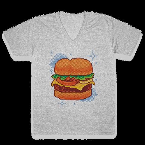 Pixel Burger V-Neck Tee Shirt