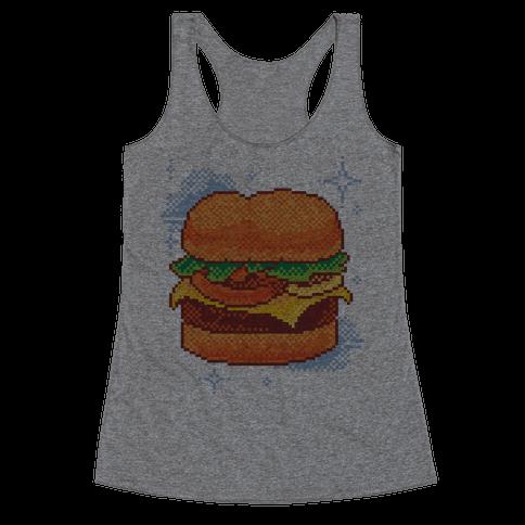 Pixel Burger Racerback Tank Top