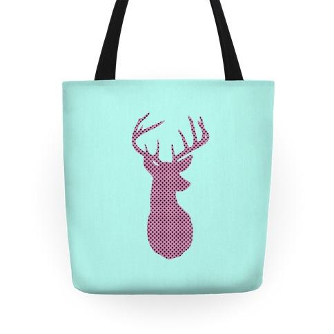 Polka Dot Deer Silhouette Tote