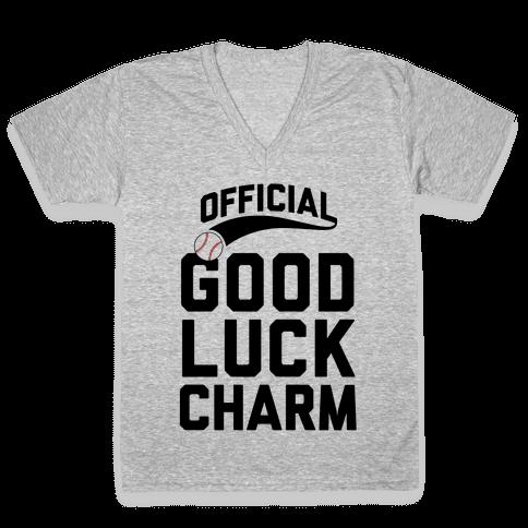 Baseball Good Luck Charm V-Neck Tee Shirt