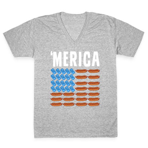 Beer, Hotdogs & 'Merica V-Neck Tee Shirt