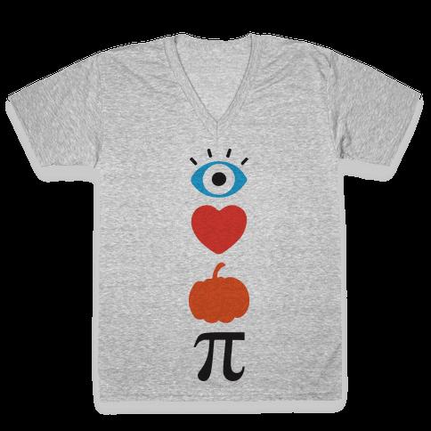 Eye Heart Pumpkin Pi (Tank) V-Neck Tee Shirt