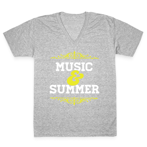 Music & Summer V-Neck Tee Shirt
