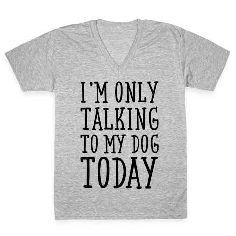 I'm Only Talking To My Dog Today V-Neck Tee Shirt