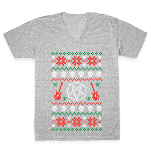 Ugly Sweater Heavy Metal V-Neck Tee Shirt