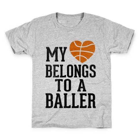 My Heart Belongs To A Baller (Baseball Tee) Kids T-Shirt