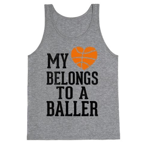 My Heart Belongs To A Baller (Baseball Tee) Tank Top